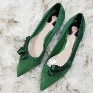 Chloe Green Suede satin bow pointy flats  37 NWOT
